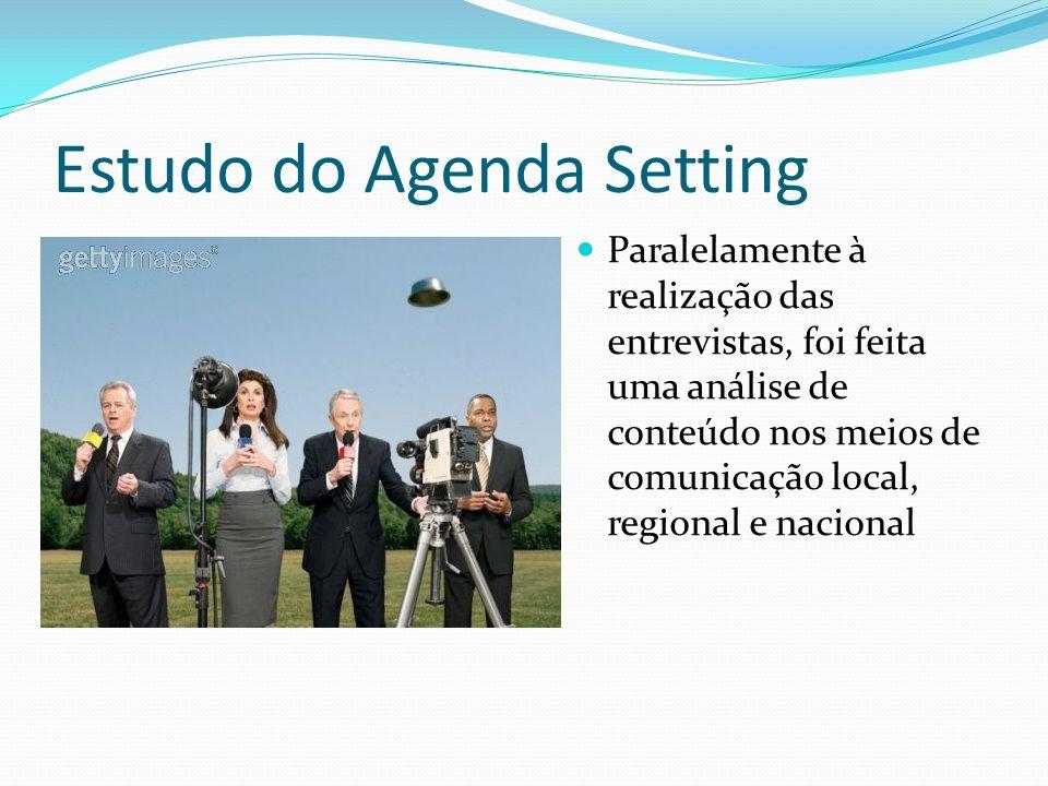 Estudo do Agenda Setting Paralelamente à realização das entrevistas, foi feita uma análise de conteúdo nos meios de comunicação local, regional e naci