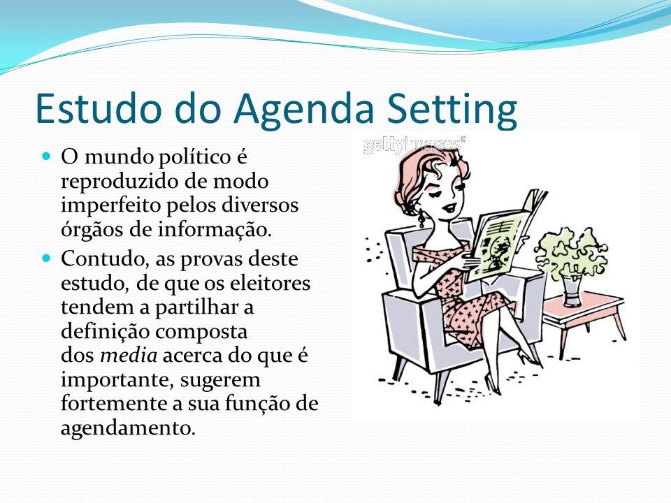 Estudo do Agenda Setting O mundo político é reproduzido de modo imperfeito pelos diversos órgãos de informação. Contudo, as provas deste estudo, de qu