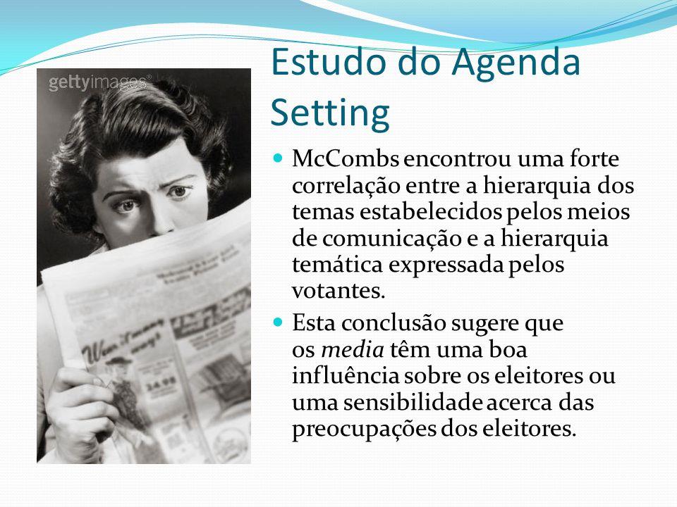 Estudo do Agenda Setting McCombs encontrou uma forte correlação entre a hierarquia dos temas estabelecidos pelos meios de comunicação e a hierarquia t