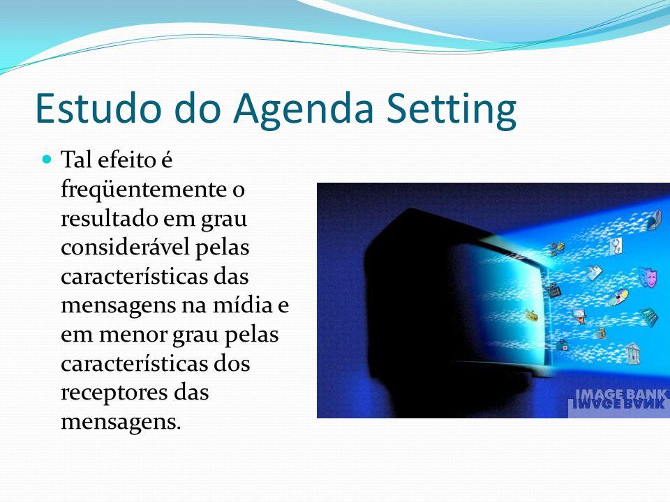 Estudo do Agenda Setting Tal efeito é freqüentemente o resultado em grau considerável pelas características das mensagens na mídia e em menor grau pel