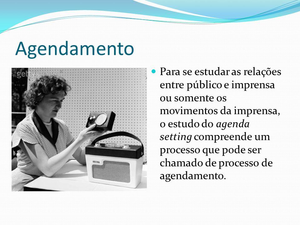 Agendamento Para se estudar as relações entre público e imprensa ou somente os movimentos da imprensa, o estudo do agenda setting compreende um proces