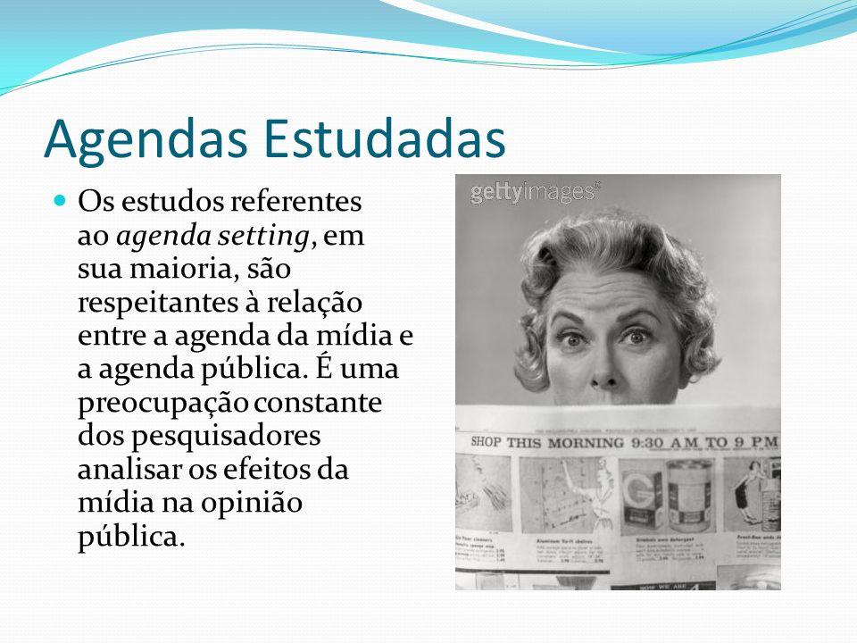 Agendas Estudadas Os estudos referentes ao agenda setting, em sua maioria, são respeitantes à relação entre a agenda da mídia e a agenda pública. É um