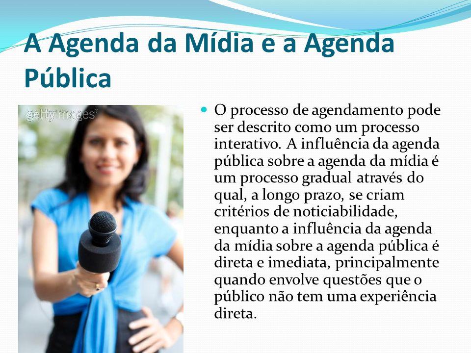 A Agenda da Mídia e a Agenda Pública O processo de agendamento pode ser descrito como um processo interativo. A influência da agenda pública sobre a a