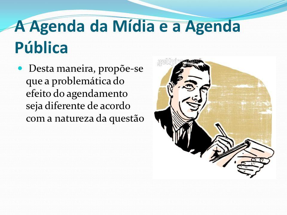 Desta maneira, propõe-se que a problemática do efeito do agendamento seja diferente de acordo com a natureza da questão A Agenda da Mídia e a Agenda P