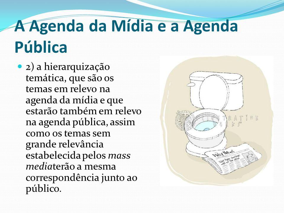 A Agenda da Mídia e a Agenda Pública 2) a hierarquização temática, que são os temas em relevo na agenda da mídia e que estarão também em relevo na age