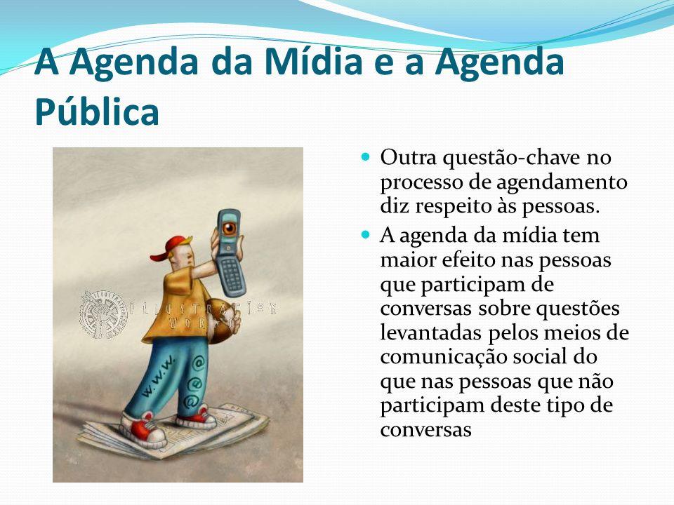 A Agenda da Mídia e a Agenda Pública Outra questão-chave no processo de agendamento diz respeito às pessoas. A agenda da mídia tem maior efeito nas pe