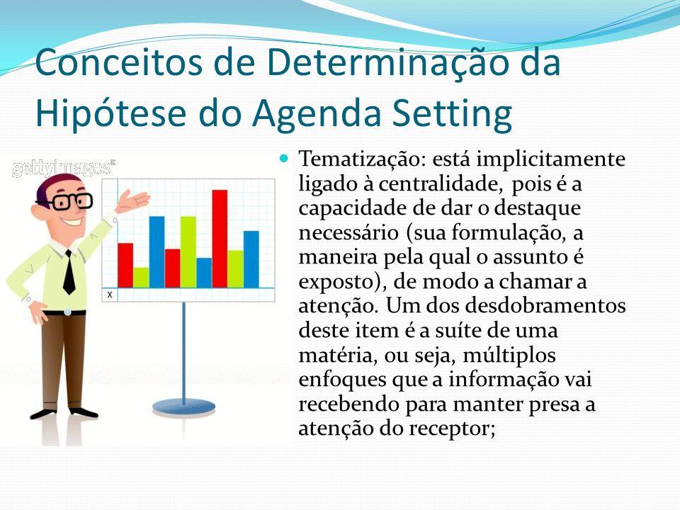 Conceitos de Determinação da Hipótese do Agenda Setting Tematização: está implicitamente ligado à centralidade, pois é a capacidade de dar o destaque