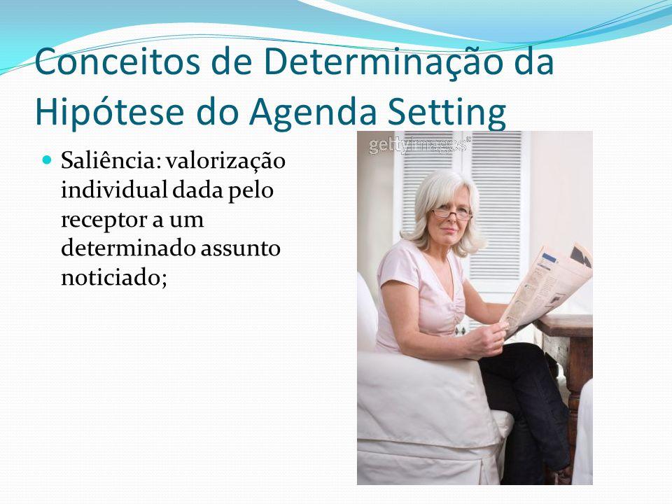 Conceitos de Determinação da Hipótese do Agenda Setting Saliência: valorização individual dada pelo receptor a um determinado assunto noticiado;