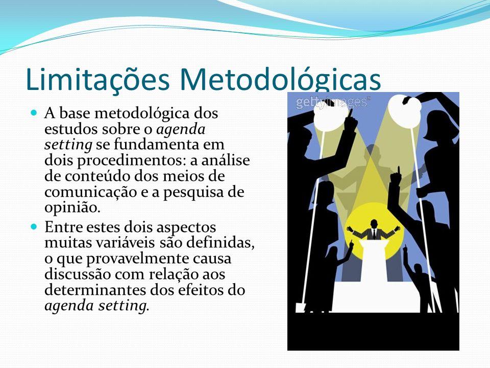 Limitações Metodológicas A base metodológica dos estudos sobre o agenda setting se fundamenta em dois procedimentos: a análise de conteúdo dos meios d