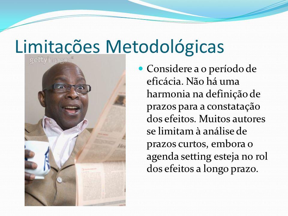 Limitações Metodológicas Considere a o período de eficácia. Não há uma harmonia na definição de prazos para a constatação dos efeitos. Muitos autores