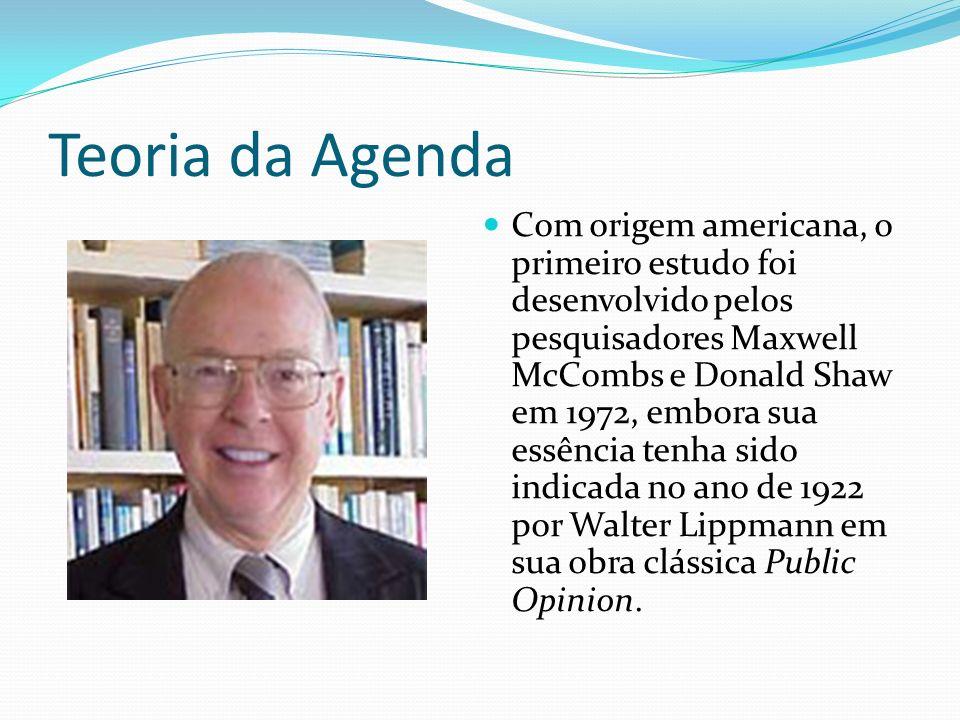 Teoria da Agenda Com origem americana, o primeiro estudo foi desenvolvido pelos pesquisadores Maxwell McCombs e Donald Shaw em 1972, embora sua essênc