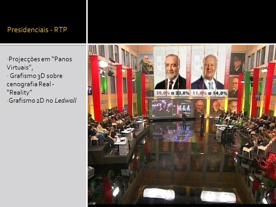 Presidenciais - RTP Projecções em Panos Virtuais, Grafismo 3D sobre cenografia Real - Reality Grafismo 2D no Ledwall