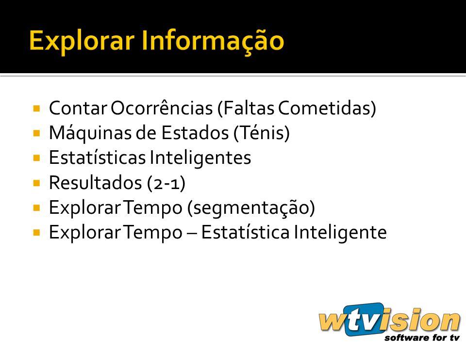 Contar Ocorrências (Faltas Cometidas) Máquinas de Estados (Ténis) Estatísticas Inteligentes Resultados (2-1) Explorar Tempo (segmentação) Explorar Tempo – Estatística Inteligente