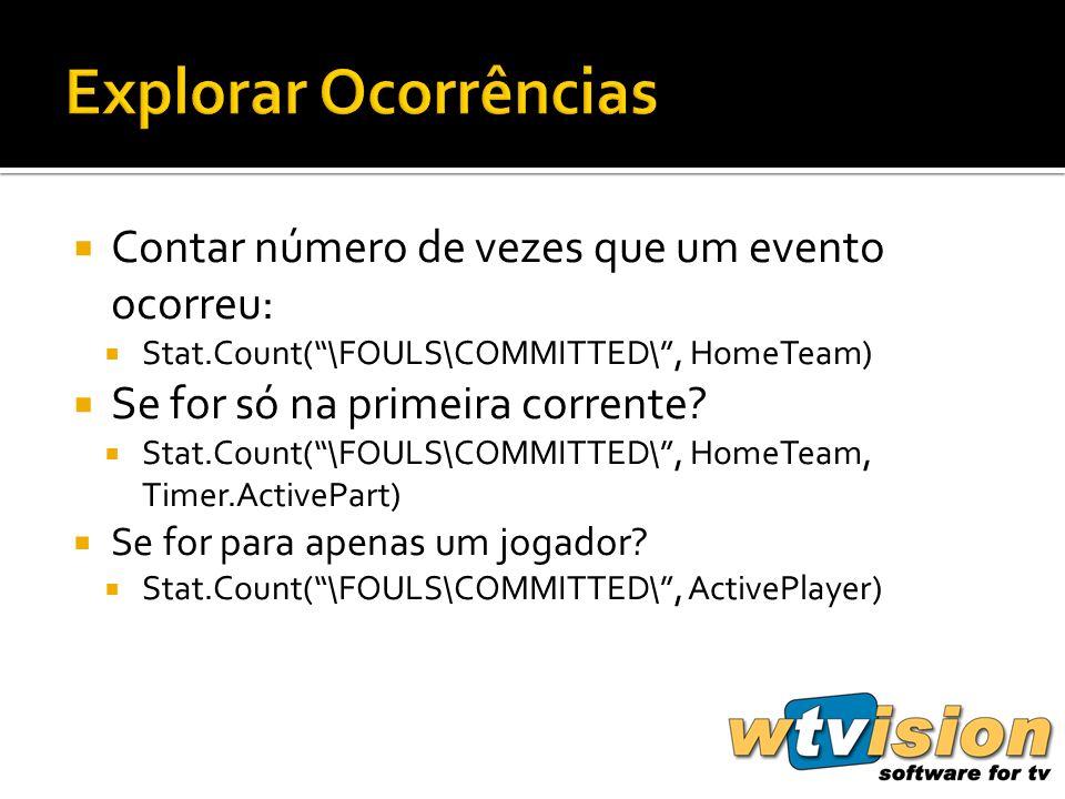 Contar número de vezes que um evento ocorreu: Stat.Count(\FOULS\COMMITTED\, HomeTeam) Se for só na primeira corrente.