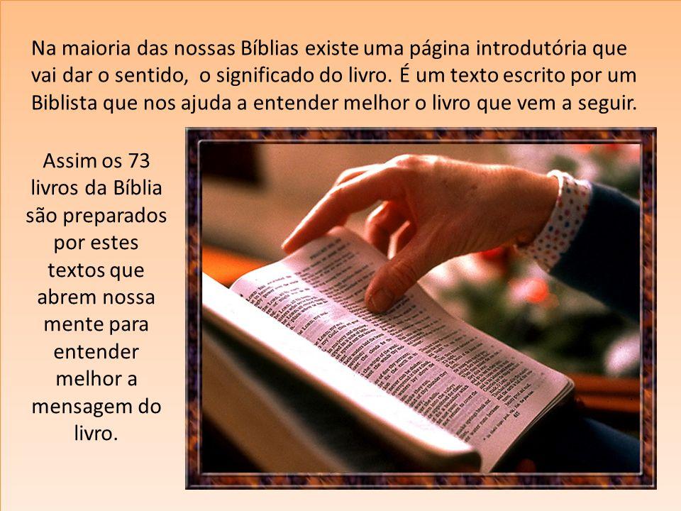 Na maioria das nossas Bíblias existe uma página introdutória que vai dar o sentido, o significado do livro. É um texto escrito por um Biblista que nos
