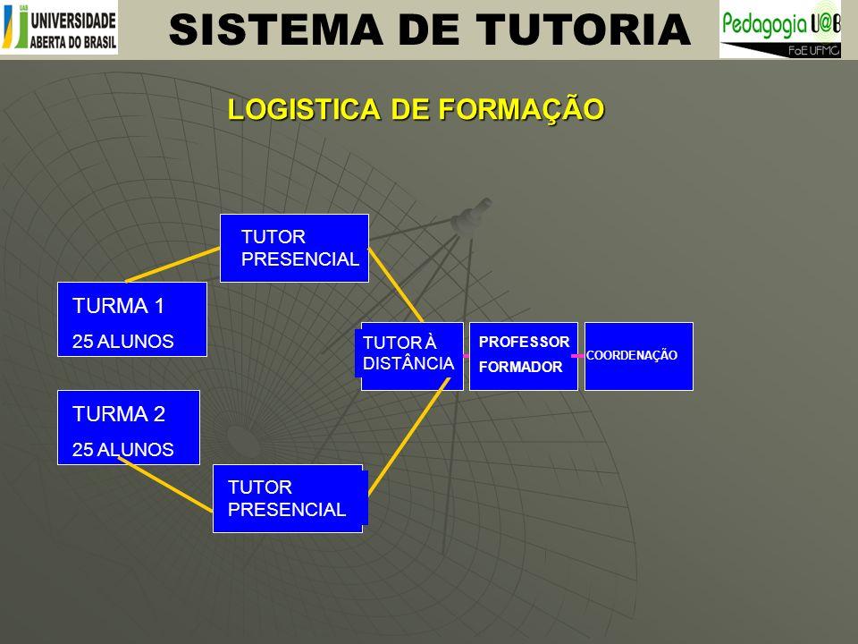 LOGISTICA DE FORMAÇÃO TURMA 1 25 ALUNOS TURMA 2 25 ALUNOS TUTOR PRESENCIAL TUTOR À DISTÂNCIA PROFESSOR FORMADOR COORDENAÇÃO SISTEMA DE TUTORIA
