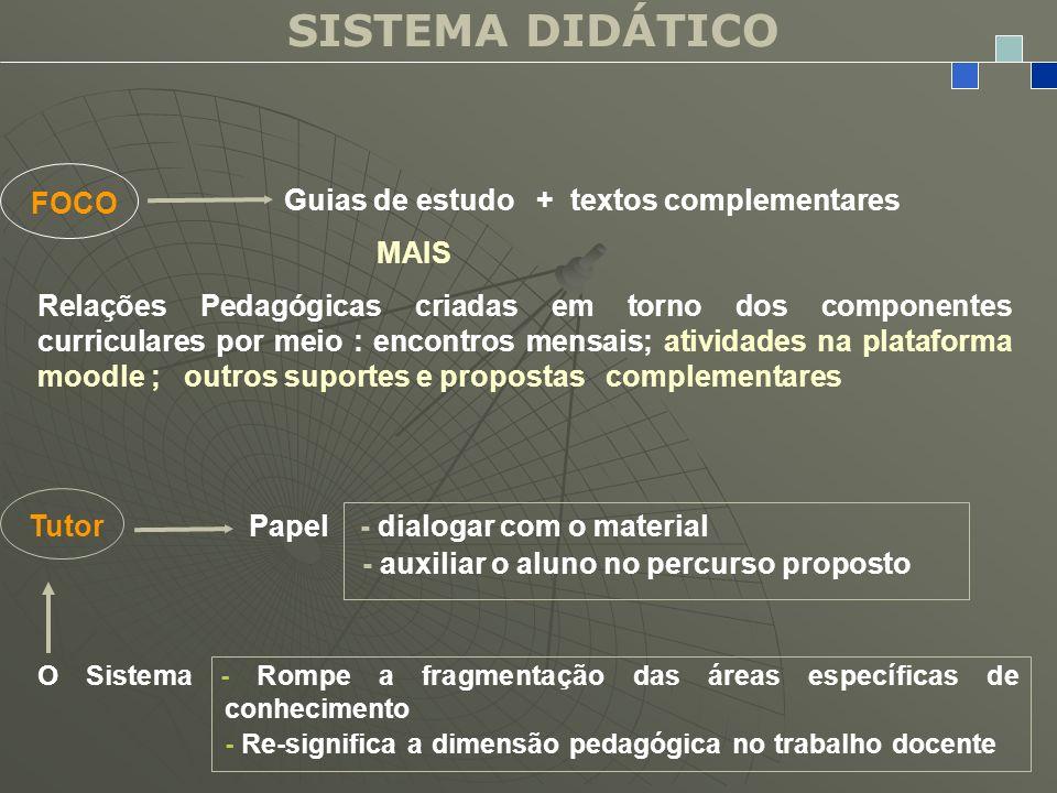 SISTEMA DIDÁTICO FOCO Guias de estudo + textos complementares MAIS Relações Pedagógicas criadas em torno dos componentes curriculares por meio : encon