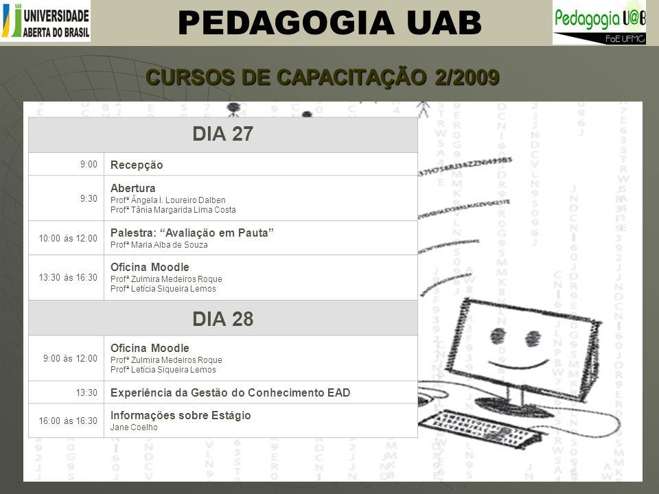 PEDAGOGIA UAB CURSOS DE CAPACITAÇÃO 2/2009 Curso de Capacitação de Tutores da UAB 27 e 28 de julho de 2009 PEDAGOGIA DIA 27 9:00 Recepção 9:30 Abertur