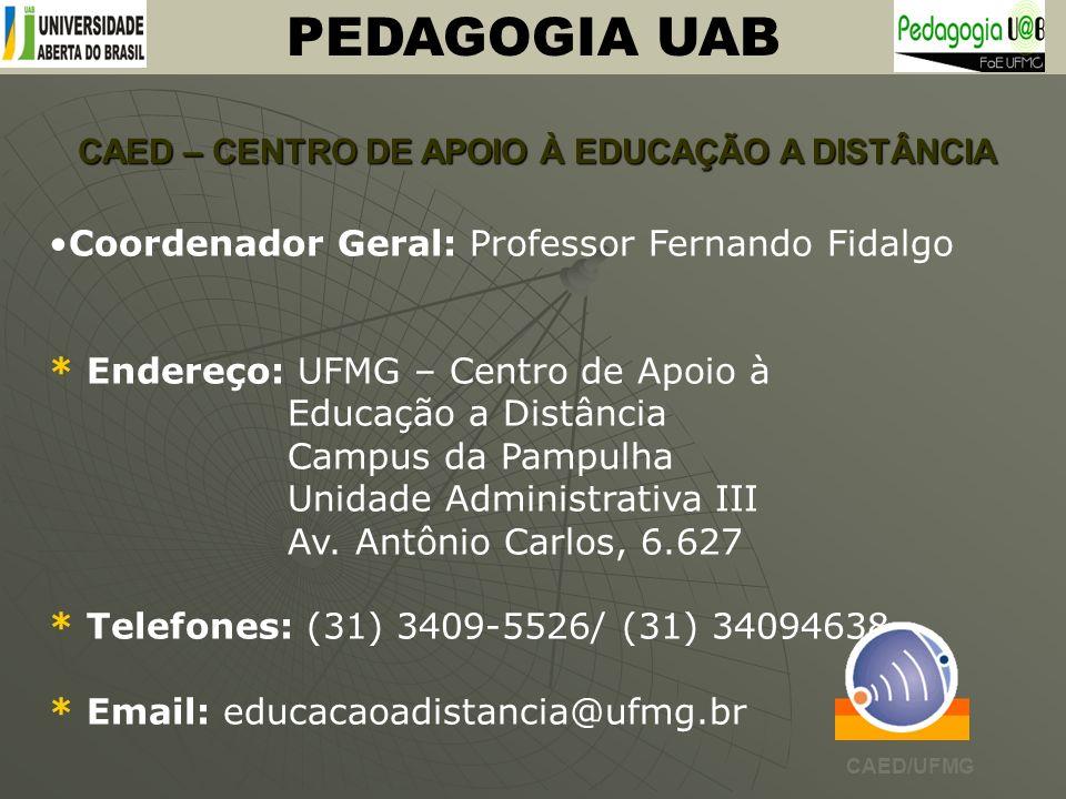 CAED – CENTRO DE APOIO À EDUCAÇÃO A DISTÂNCIA PEDAGOGIA UAB Coordenador Geral: Professor Fernando Fidalgo * Endereço: UFMG – Centro de Apoio à Educaçã