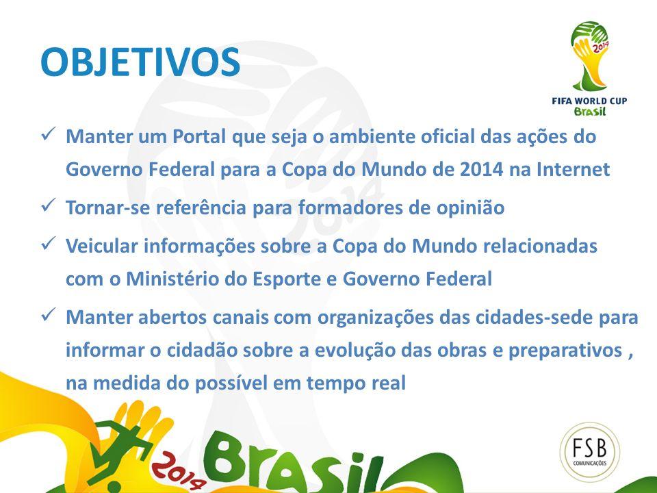 OBJETIVOS Manter um Portal que seja o ambiente oficial das ações do Governo Federal para a Copa do Mundo de 2014 na Internet Tornar-se referência para