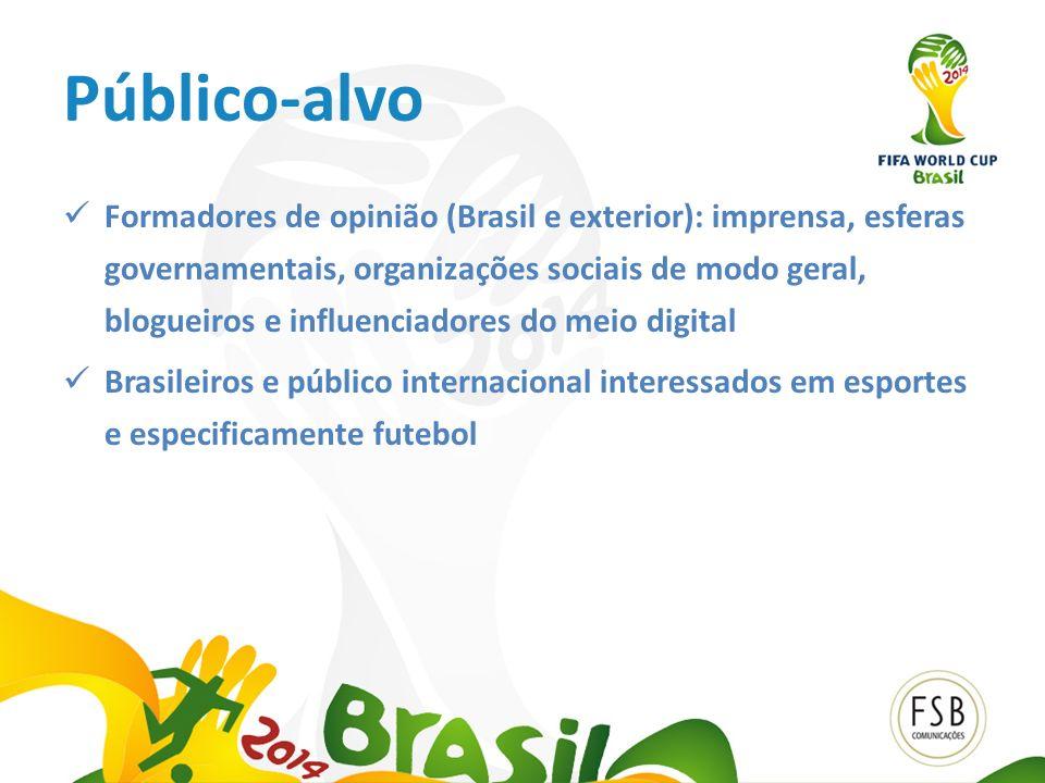 Público-alvo Formadores de opinião (Brasil e exterior): imprensa, esferas governamentais, organizações sociais de modo geral, blogueiros e influenciad