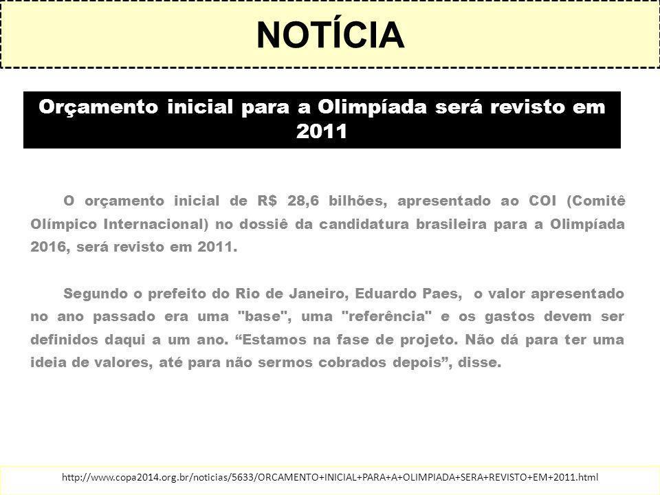 Orçamento inicial para a Olimpíada será revisto em 2011 O orçamento inicial de R$ 28,6 bilhões, apresentado ao COI (Comitê Olímpico Internacional) no dossiê da candidatura brasileira para a Olimpíada 2016, será revisto em 2011.