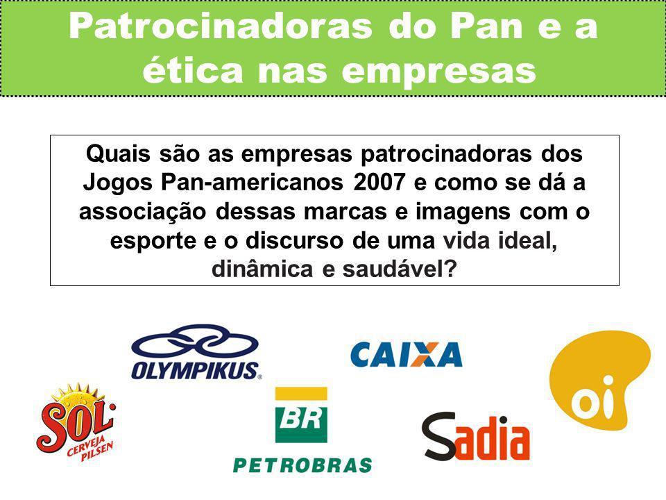 Quais são as empresas patrocinadoras dos Jogos Pan-americanos 2007 e como se dá a associação dessas marcas e imagens com o esporte e o discurso de uma vida ideal, dinâmica e saudável.