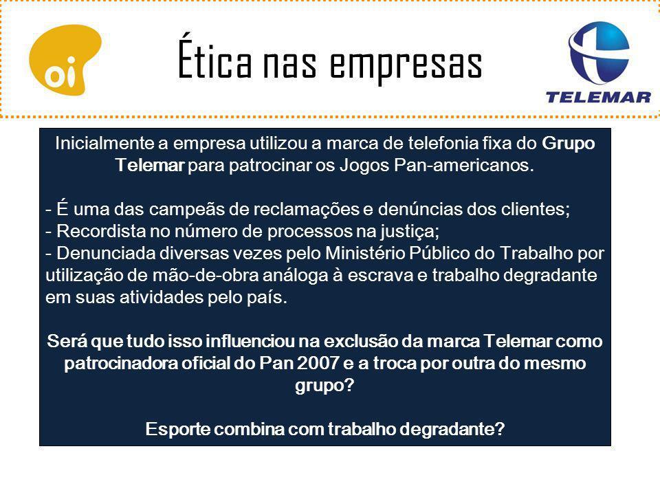 Inicialmente a empresa utilizou a marca de telefonia fixa do Grupo Telemar para patrocinar os Jogos Pan-americanos.