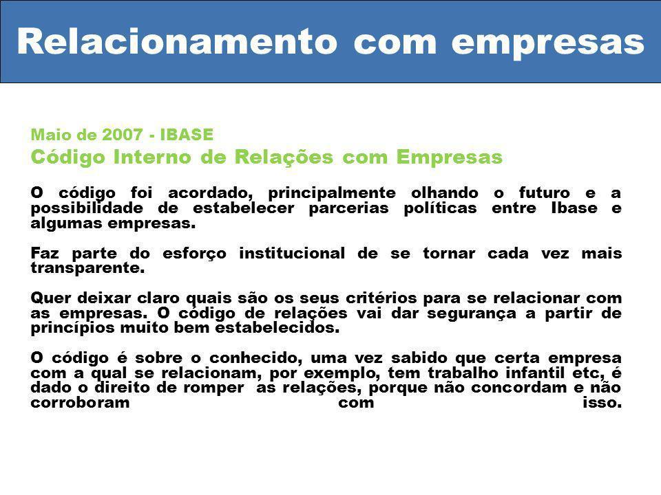 Relacionamento com empresas Maio de 2007 - IBASE Código Interno de Relações com Empresas O código foi acordado, principalmente olhando o futuro e a possibilidade de estabelecer parcerias políticas entre Ibase e algumas empresas.