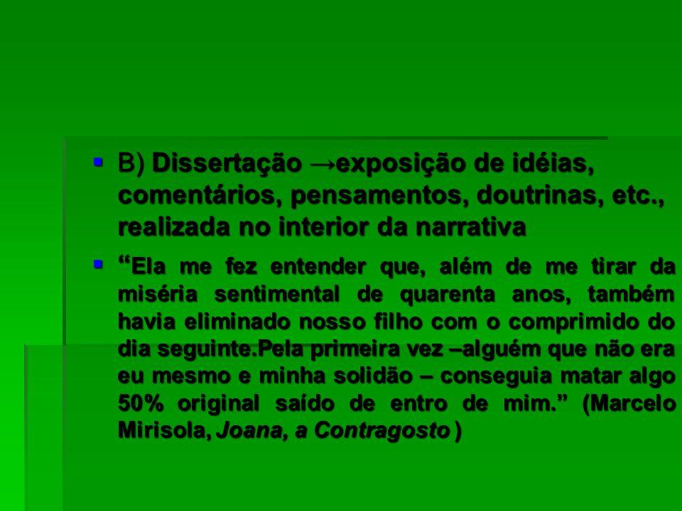 B) Dissertação exposição de idéias, comentários, pensamentos, doutrinas, etc., realizada no interior da narrativa B) Dissertação exposição de idéias,