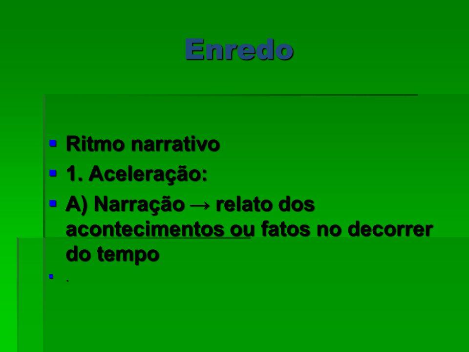 Enredo Ritmo narrativo Ritmo narrativo 1. Aceleração: 1. Aceleração: A) Narração relato dos acontecimentos ou fatos no decorrer do tempo A) Narração r
