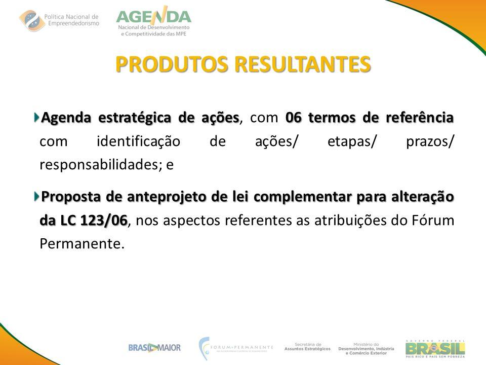 PRODUTOS RESULTANTES Agenda estratégica de ações06 termos de referência Agenda estratégica de ações, com 06 termos de referência com identificação de