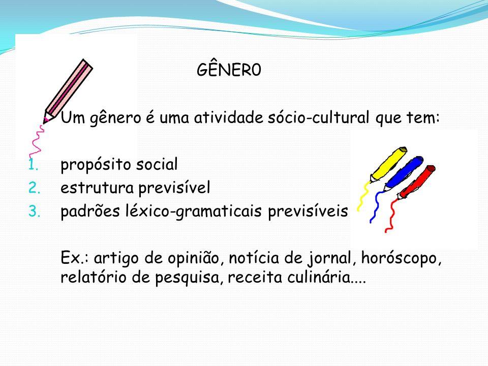 GÊNER0 Um gênero é uma atividade sócio-cultural que tem: 1. propósito social 2. estrutura previsível 3. padrões léxico-gramaticais previsíveis Ex.: ar