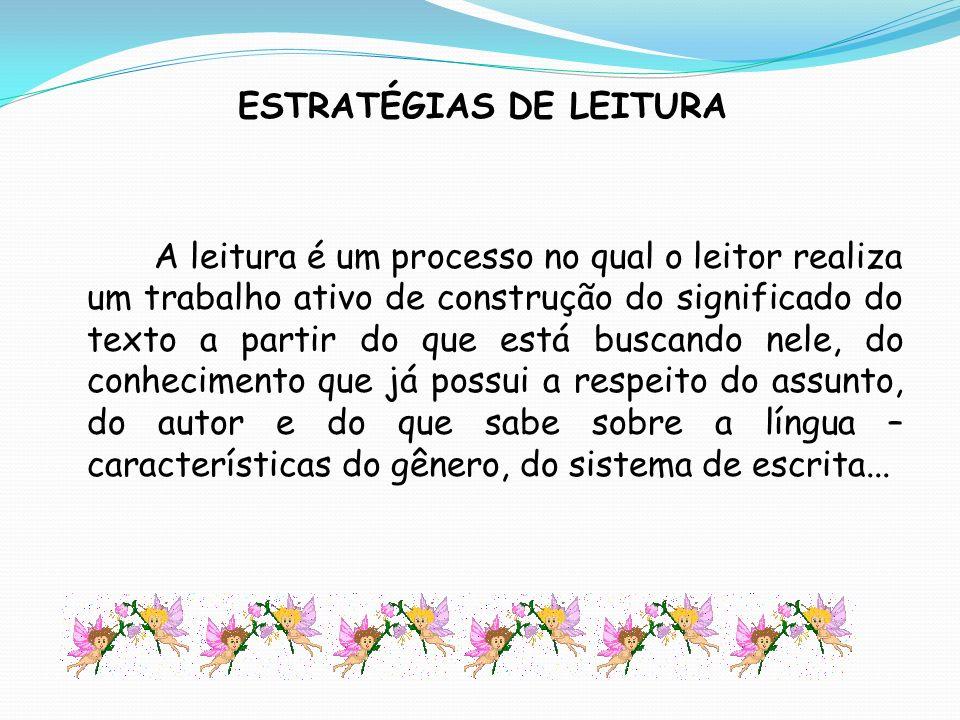ESTRATÉGIAS DE LEITURA A leitura é um processo no qual o leitor realiza um trabalho ativo de construção do significado do texto a partir do que está b