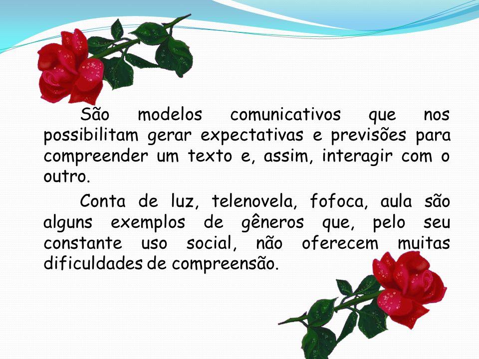 São modelos comunicativos que nos possibilitam gerar expectativas e previsões para compreender um texto e, assim, interagir com o outro. Conta de luz,