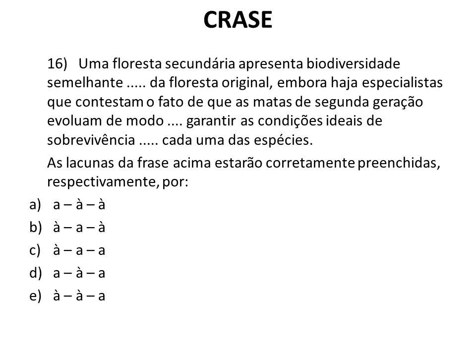 CRASE 16) Uma floresta secundária apresenta biodiversidade semelhante..... da floresta original, embora haja especialistas que contestam o fato de que
