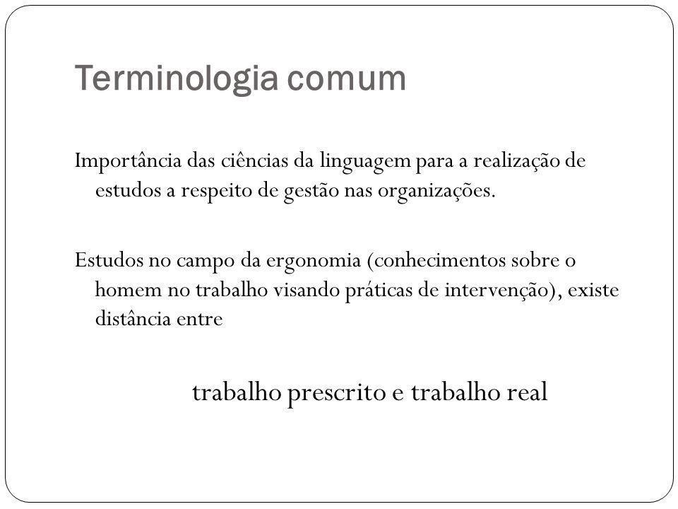 Terminologia comum Importância das ciências da linguagem para a realização de estudos a respeito de gestão nas organizações. Estudos no campo da ergon
