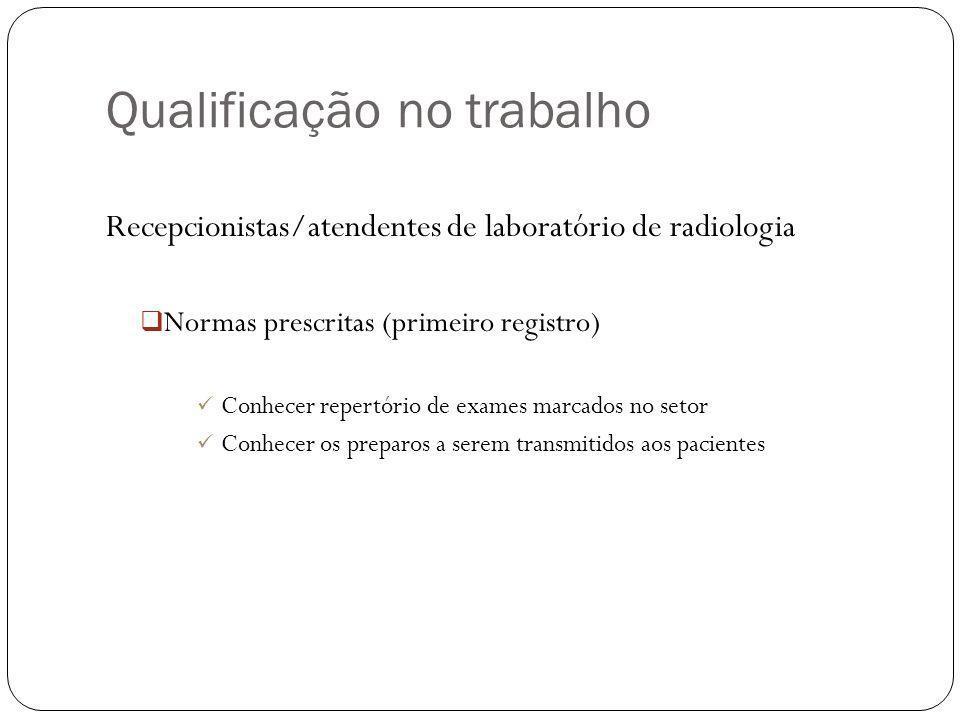 Qualificação no trabalho Recepcionistas/atendentes de laboratório de radiologia Normas prescritas (primeiro registro) Conhecer repertório de exames marcados no setor Conhecer os preparos a serem transmitidos aos pacientes