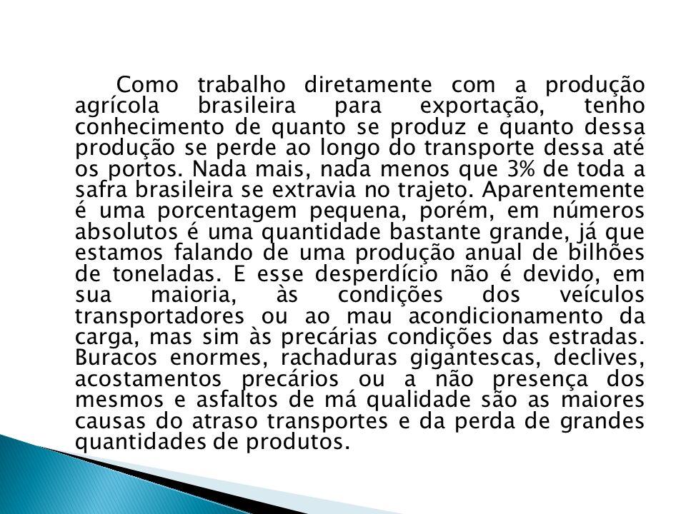 Como trabalho diretamente com a produção agrícola brasileira para exportação, tenho conhecimento de quanto se produz e quanto dessa produção se perde