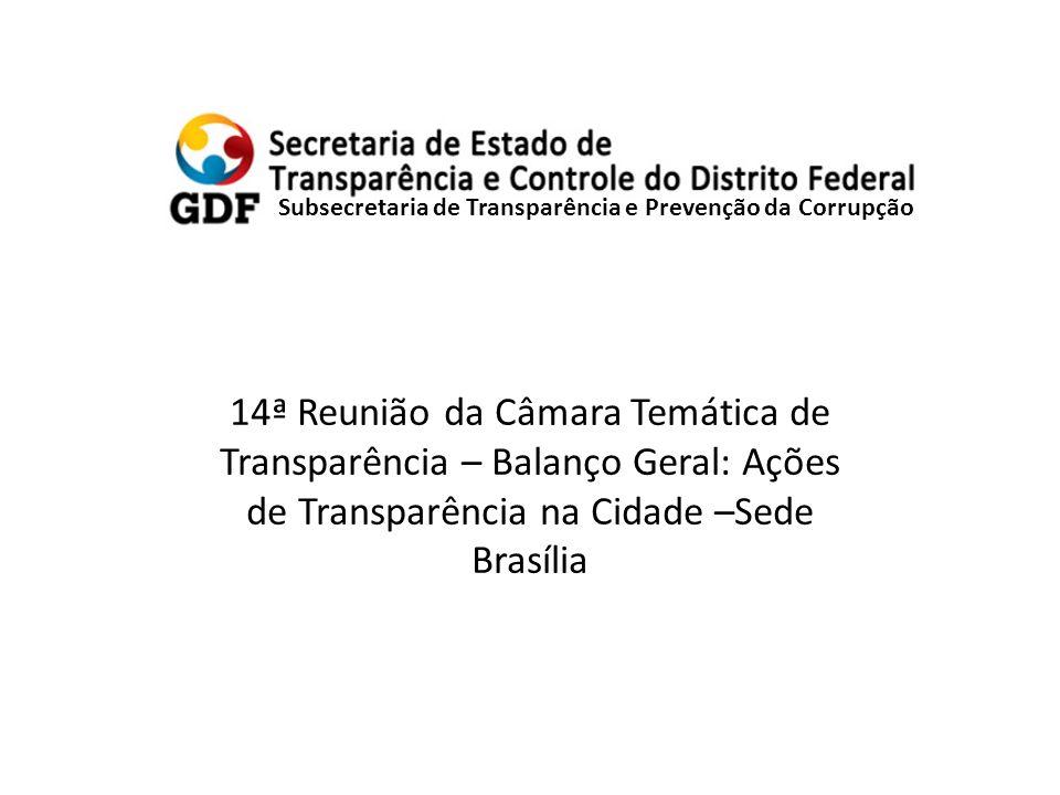 Subsecretaria de Transparência e Prevenção da Corrupção 14ª Reunião da Câmara Temática de Transparência – Balanço Geral: Ações de Transparência na Cidade –Sede Brasília
