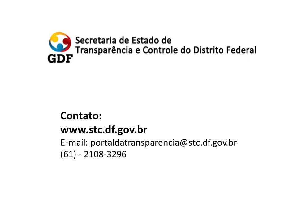 Contato: www.stc.df.gov.br E-mail: portaldatransparencia@stc.df.gov.br (61) - 2108-3296