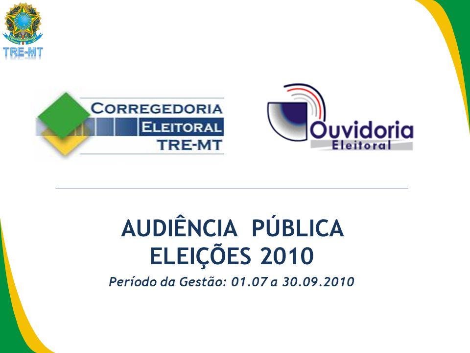 AUDIÊNCIA PÚBLICA ELEIÇÕES 2010 Período da Gestão: 01.07 a 30.09.2010