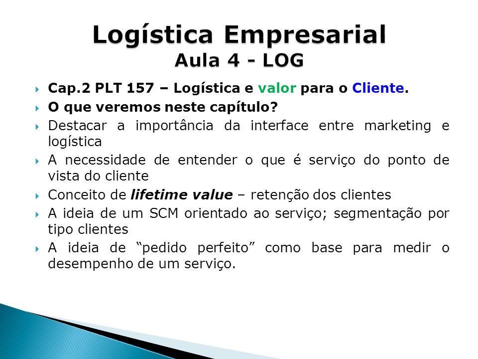 Cap.2 PLT 157 – Logística e valor para o Cliente. O que veremos neste capítulo? Destacar a importância da interface entre marketing e logística A nece