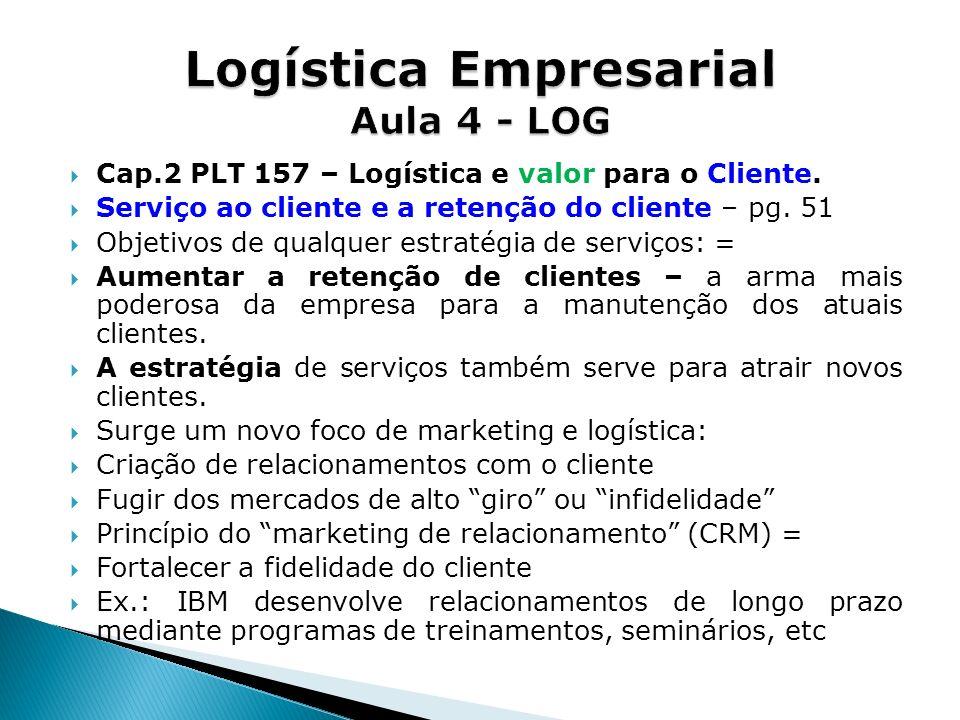 Cap.2 PLT 157 – Logística e valor para o Cliente. Serviço ao cliente e a retenção do cliente – pg. 51 Objetivos de qualquer estratégia de serviços: =