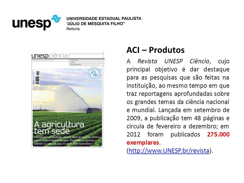 ACI – Produtos A Revista UNESP Ciência, cujo principal objetivo é dar destaque para as pesquisas que são feitas na instituição, ao mesmo tempo em que traz reportagens aprofundadas sobre os grandes temas da ciência nacional e mundial.