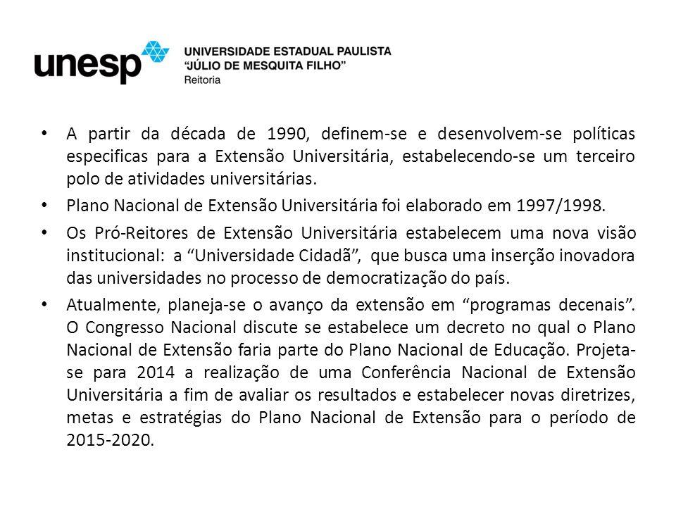 A partir da década de 1990, definem-se e desenvolvem-se políticas especificas para a Extensão Universitária, estabelecendo-se um terceiro polo de atividades universitárias.