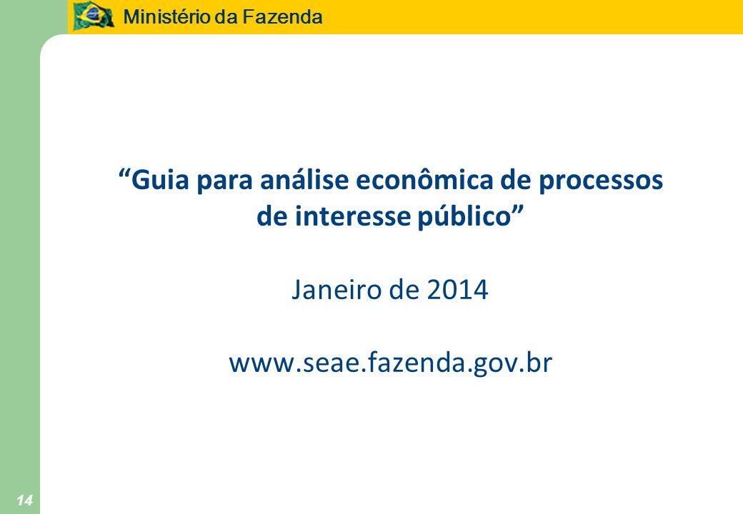 Ministério da Fazenda 14 Guia para análise econômica de processos de interesse público Janeiro de 2014 www.seae.fazenda.gov.br