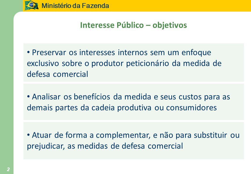 Ministério da Fazenda 2 Interesse Público – objetivos Preservar os interesses internos sem um enfoque exclusivo sobre o produtor peticionário da medid