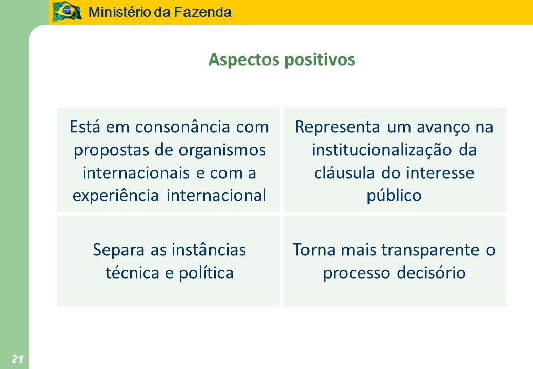 Ministério da Fazenda 21 Aspectos positivos Está em consonância com propostas de organismos internacionais e com a experiência internacional Represent