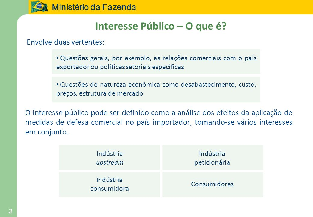 Ministério da Fazenda 3 Interesse Público – O que é? Envolve duas vertentes: O interesse público pode ser definido como a análise dos efeitos da aplic
